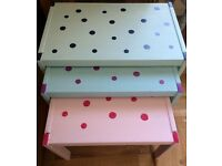 Nest Of Hand Painted, Polka Dot Solid Pine Tables