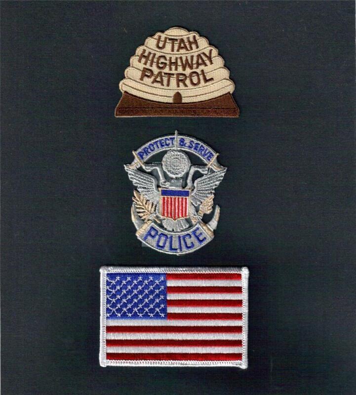 UTAH Highway Patrol POLICE USA FLAG Sew Iron On NOVELTY PATCH SET 3 Pcs New