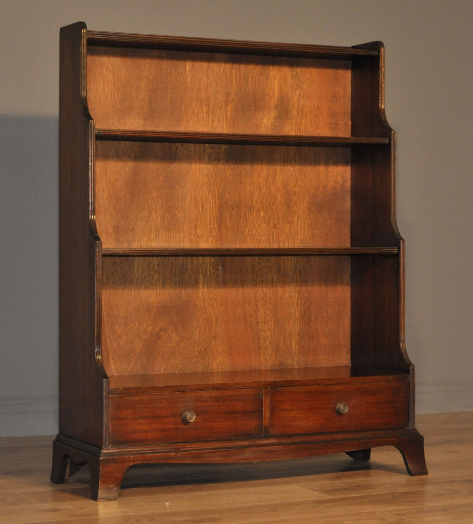 Attractive Vintage Mahogany Waterfall Floor Bookcase with Two Base Drawers