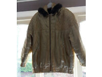 Vintage 1980's Ladies Gold Lame Jacket with faux fur trimmed hood