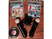 2 Playstation Move Controllers - With Camera - And 2 Games - ( Controllers Work on PS4! )