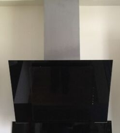 Stainless Steel and Black Glass Angled Cooker Hood 60cm