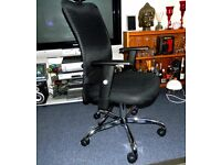 Mesh High Back Executive 360 degree Swivel Desk Armchair with Chrome Base - Black