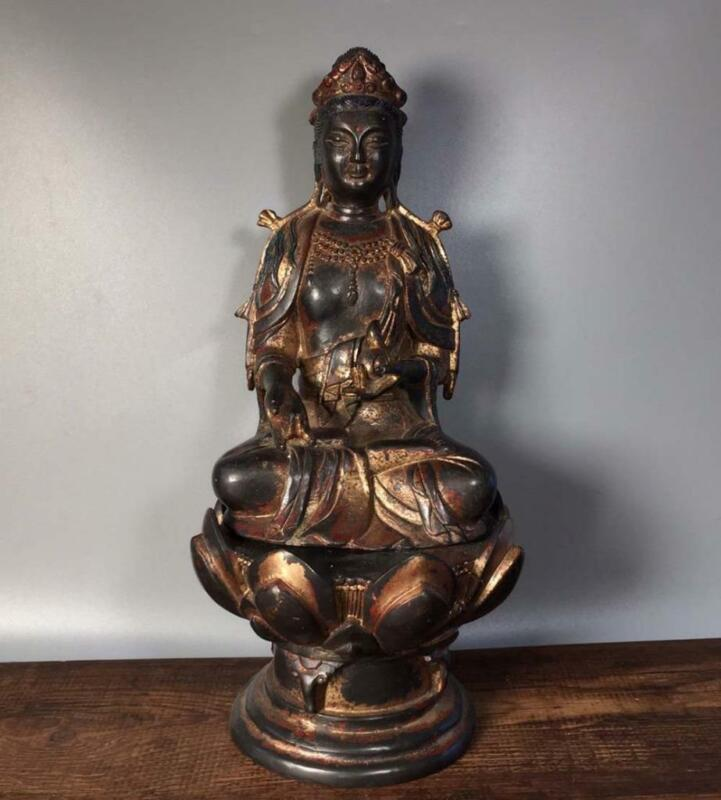 """Old Chinese Carved Bronze Statue Guanyin Buddha H10.83"""""""