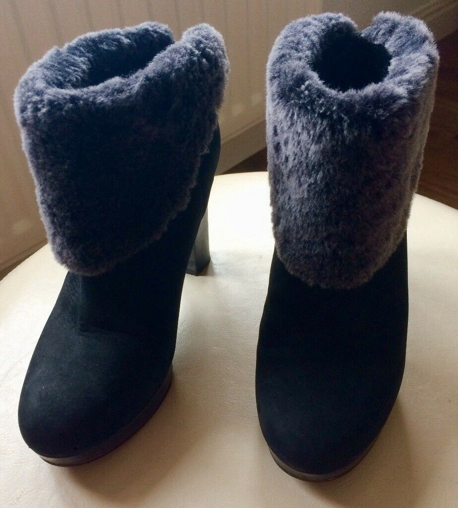 c344e10d277 UGG boots size 5. High heel black Ugg ankle boots with grey fur trim | in  Stockton-on-Tees, County Durham | Gumtree