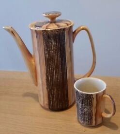 Retro 1960's Price Kensington coffee pot, milk jug and cup.