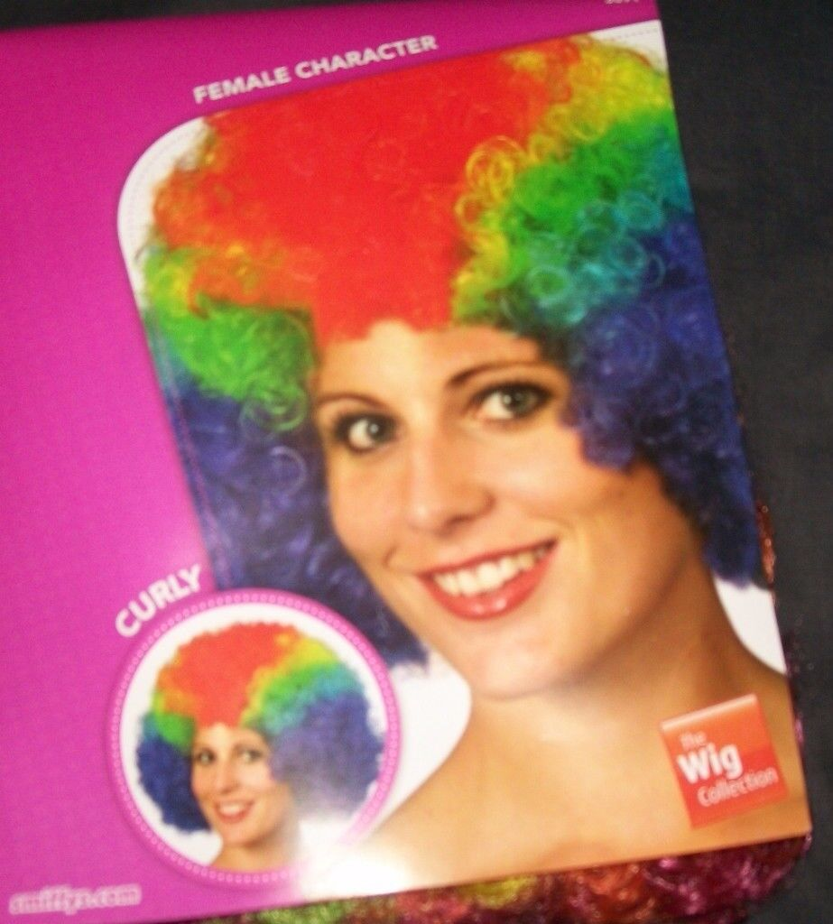 CLOWNS AFRO WIG RAINBOW COLOUR GREAT FOR PARTY OR STAG DO