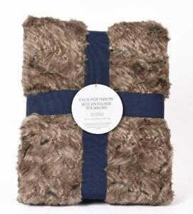 Markethouse Faux Fur Throw Blanket - 50 x 60 Inch Soft, Luxurious [Brown]
