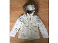 Girls Cream Padded Coat