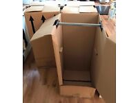 Cardboard Garment Boxes with rails for Removals / Wardrobe / Storage / Moving of clothes.