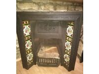 Cast-Iron Victorian Fireplace w/ Hand-painted tiles