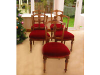 FABULOUS- UNIQUE – 5 HAND CARVED DINING CHAIRS (CAN DELIVER)