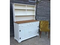 *FREE DELIVERY* Stunning Ornate Oak Welsh Dresser in Cream Chalk ~ Shabby Chic Sideboard(Ercol)