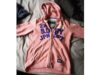 Woman's size Large light pink Superdry zip up hoodie with pockets, also have Bench jacket