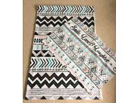 """Black, White, Turquoise & Pink Aztec Design """"Smile, Love and Laughter"""" Single Duvet Cover & Case"""