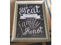 Framed 'pick a seat not a side' wedding chalkboard style print