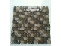 21 SHEETS OF QAULITY BROWN GLASS & MARBLE MOSAIC TILES