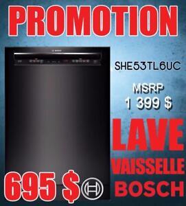 Lave-vaisselle Bosch 24 po encastré noir en LIQUIDATION