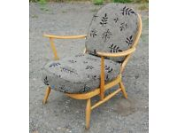 Vintage Ercol 203 Light Blonde Armchair Easy Lounge Arm Chair Low with Cushion