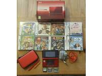 Metallic Red Nintendo 3DS with 11 Games.
