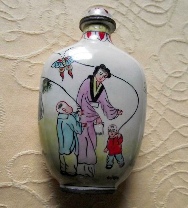 Vintage Qianlong Signed Chinese Oriental Snuff Perfume Bottle Enamel on Copper