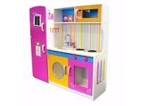 Children Wooden LARGE DELUXE WOODEN KITCHEN UNIT/MICRO/FRIDGE (USED)