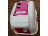CAT LITTER BOX PINK AND WHITE and free IAMS cat food(opened)