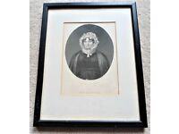 "Mrs. Burns Picture, Framed With Glass, Measures (8.5"" W x 11"" L) Good Condition!"