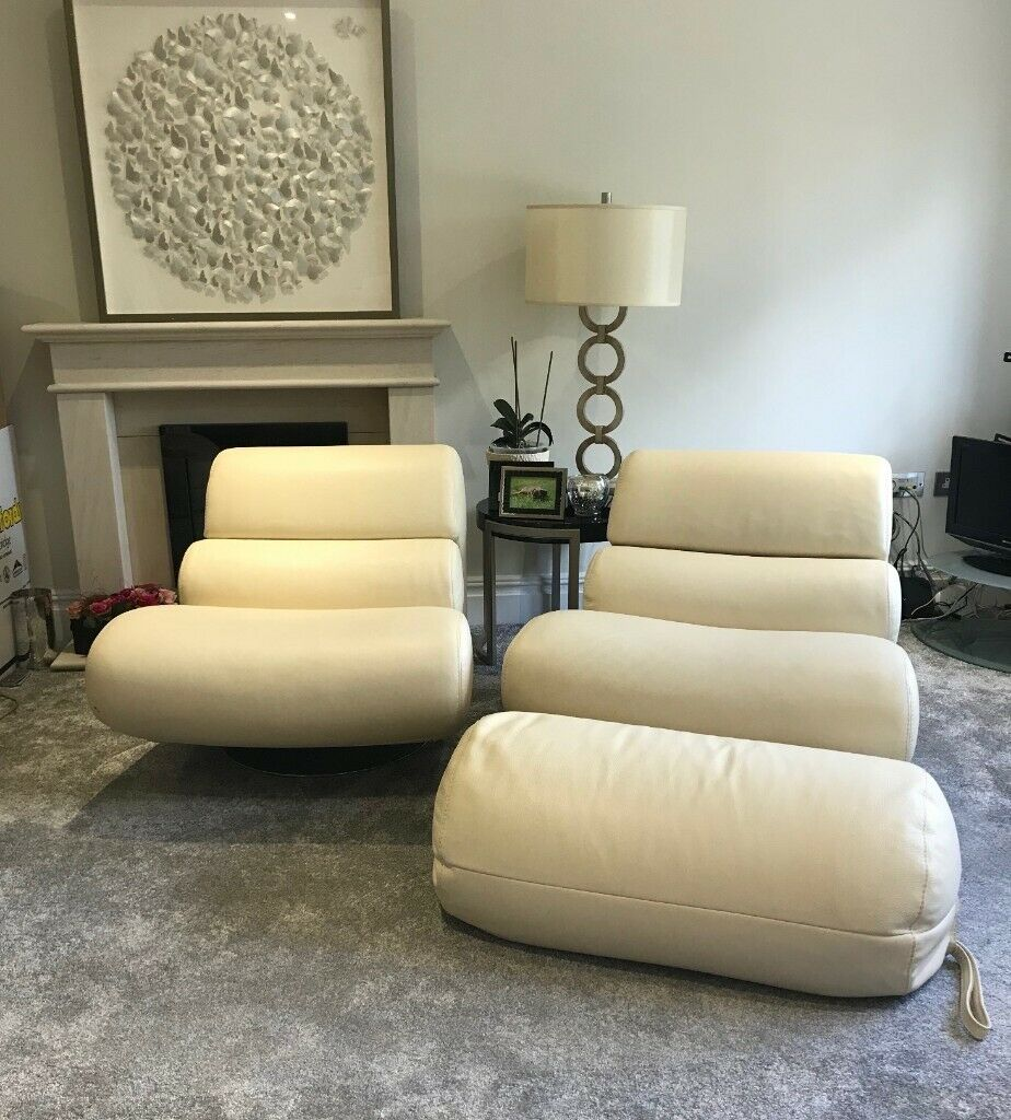 Excellent 2 Luxurious Leather Roche Bobois Chairs 360 Swivel And Matching Foot Rests In Fetcham Surrey Gumtree Bralicious Painted Fabric Chair Ideas Braliciousco