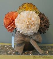 Handmade Fall Centerpiece/ Coffee Filter Flower Arrangement