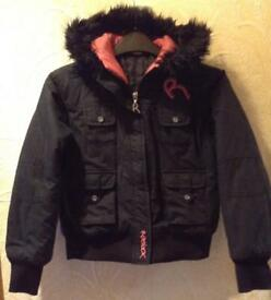 Reebok Black Padded Hooded Jacket, Age 11-12