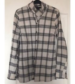 New Ladies Long Sleeve Checked Shirt Button Up Striped Blouse, UK 10