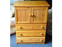 Solid pine chest of drawers/cupboard tallboy.
