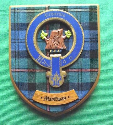 Vintage Scottish Clan Ewan Tartan Oak Plaque Crest Shield