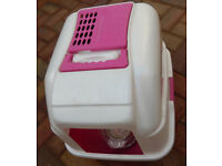 CAT LITTER BOX PINK AND WHITE with IAMS cat food (opened)