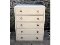 Chest Of Drawers - Shabby Chic - Hand Painted in Annie Sloan Old Ochre Chalk Paint