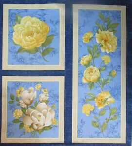 Wilmington-Prints-Fabric-SUNSHINE-BOUQUET-Yellow-and-Blue-Floral-Panels