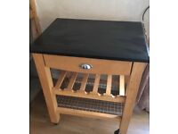 Black marble and rubber wood topped kitchen trolley with drawer and wine rack