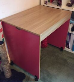 Desk with pink side panels