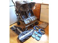 Maclaren Twin Techno double stroller pushchair with rain cover & foot muffs etc. In good clean cond'
