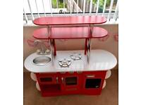 Early learning centre wooden diner kitchen, red, excellent condition