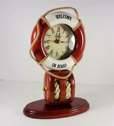 NAUTICAL WELCOME ON BOARD RING CLOCK BLOCK & TACKLE PULLEY SAILING DESK ARTWORK