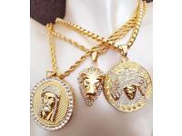 Gold Medusa, Jesus Piece or Lion Crown Pendant w Box Chain Necklace