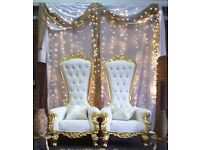 Throne Chairs/Love Lounge/Chair Covers/Sashes/Table Covers/Runners/Centre Pieces Hire!