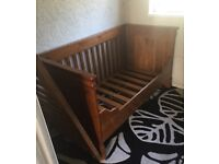 Wooden pine baby cot turn bed for sale £80 cash only on collection