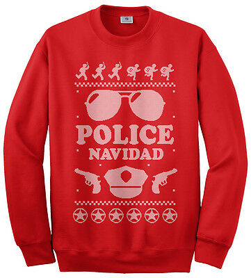 Threadrock Men's Police Navidad Ugly Christmas Sweater Sweatshirt Feliz - Funny Ugly Christmas Sweaters For Men