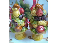 bowl of fruit salt and pepper pots