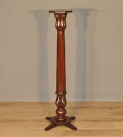 "Attractive Antique Victorian Tall 54"" High Mahogany Torchere Bust Plant Stand"