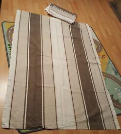 A pair of Brown Stripy Curtains 110 cm x 160 cm drop
