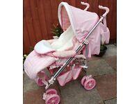 Lovely Pink leatherette Tutti Bambini Monza pushchair pram